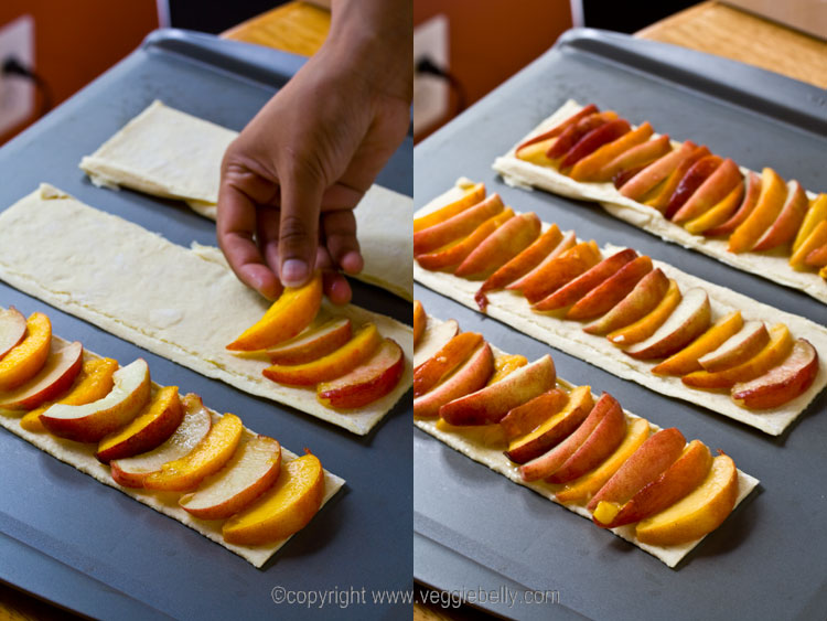 arrange-peaches-on-puffpastry