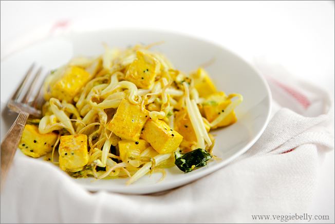 Simple Indian Style Tofu And Bean Sprout Braise Recipe Veggie