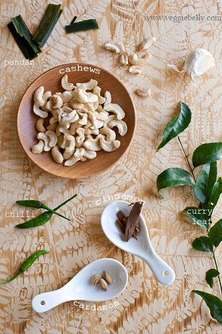 cashew nuts, pandan and spices for sri lankan cashew curry
