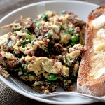 quinoa egg and kale scramble with toast