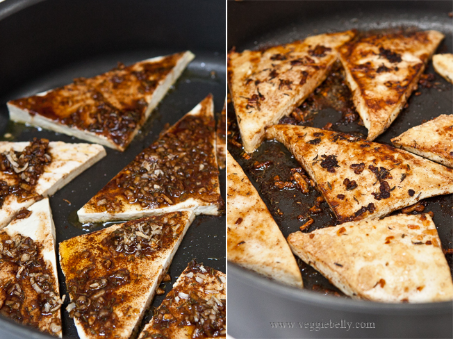 pan frying jerk tofu