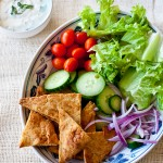 grilled naan salad with mint raita dressing