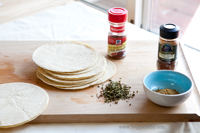 Corn tortillas, mexican oregano and chili powder for taco filling