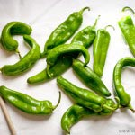 Hatch chiles ready for skillet roasting