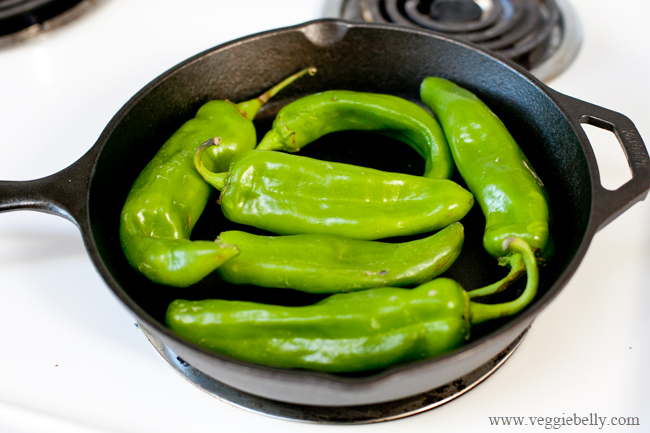 hatch chiles in a skillet