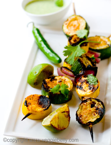 chipotle grilled squash with creamy tomatillo sauce and grilled limes ...