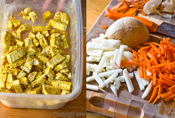 curry-marinated-tofu-and-chopped-jicama,-carrot