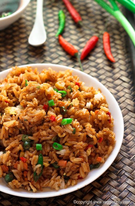 Vegetable Fried Rice With Egg Egg fried rice.