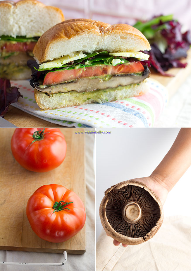Grilled Portobello Mushroom Roasted Red Pepper And Mozzarella Sandwich Or Burger Veggie Belly Vegetarian Recipe