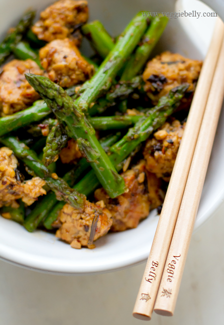 Asparagus and Tempeh Stir Fry with Ginger Pearl Couscous Recipe ...