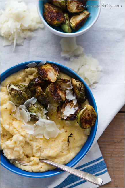 Creamy Polenta with Balsamic Roasted Brussels Sprouts Recipe | Veggie ...